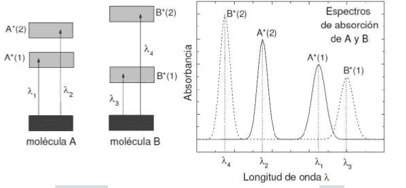 Ejemplos de espectros de absorción en espectrofotometría