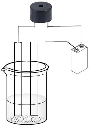 Montaje de conductividad de electrolitos empleando un zumbador