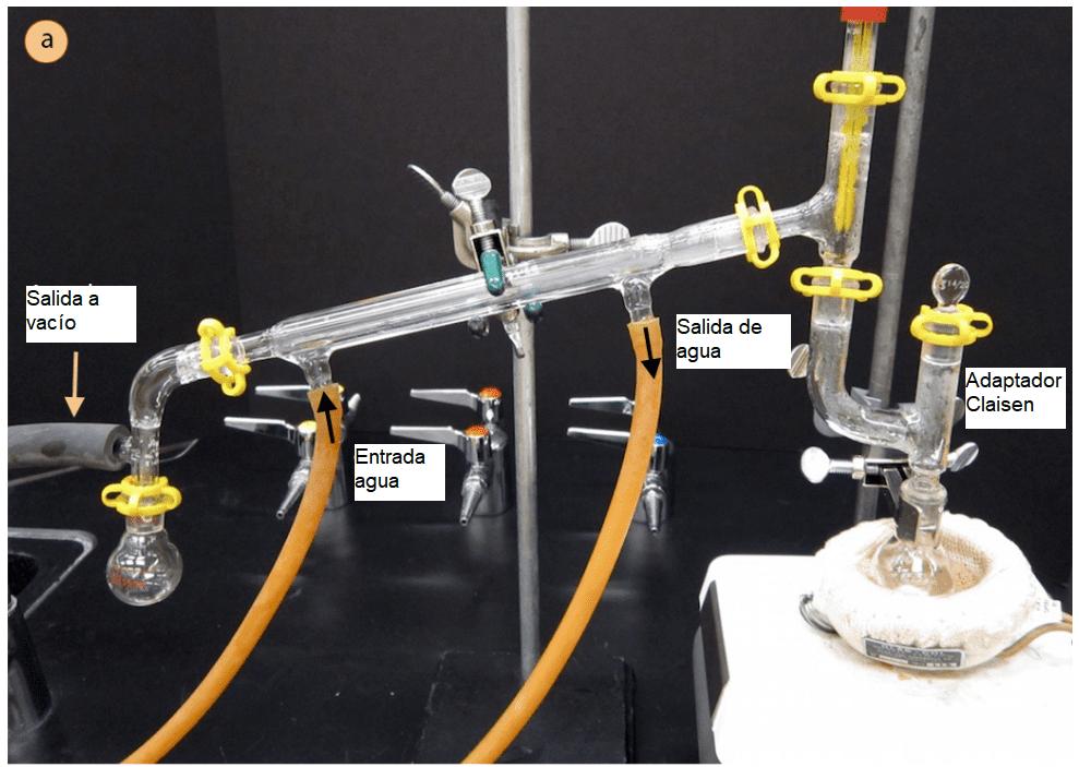 Configuración de un montaje de destilación al vacío