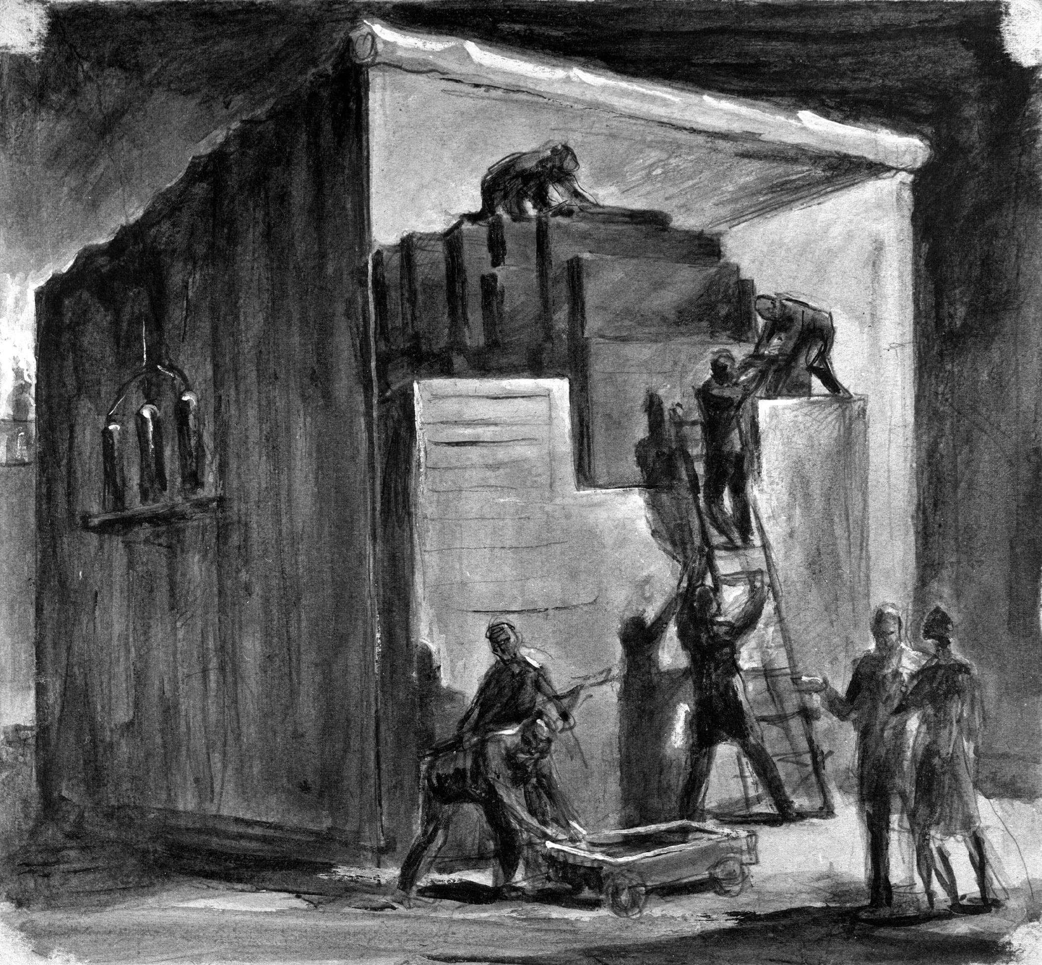 Una de las pinturas de John Cadel recreando la construcción de la CP 1