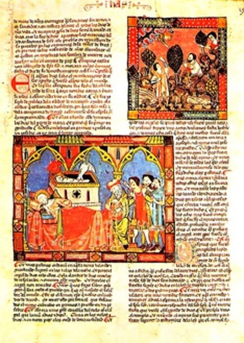El Códice del Escorial (1272-1284) de España. Los manuscritos medievales utilizaban a menudo el minio rojo-naranja en las letras del texto y para pequeñas ilustraciones, llamadas miniaturas.