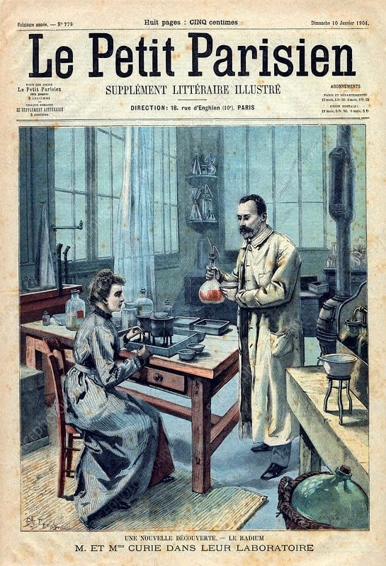 Portada de Le Petit Parisien, con un dibujo de los Curie y reportando el nuevo descubrimiento, el radio