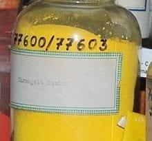 Cromato de plomo(II), colección histórica de tintes de la Universidad Técnica de Dresde, Alemania