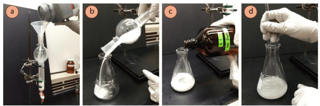 """Figura 3: a) Verter la sílice hasta 5-6"""" de altura en la campana extractora, b) Verter el sílice en un matraz Erlenmeyer, c+d) Hacer una lechada"""