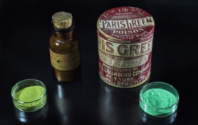 Distintas presentaciones del verde de Paris y verde de Scheele