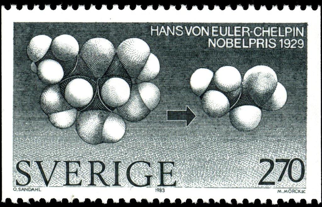 Sello postal de Suecia en Honor a Euler-Chelpin - 1983