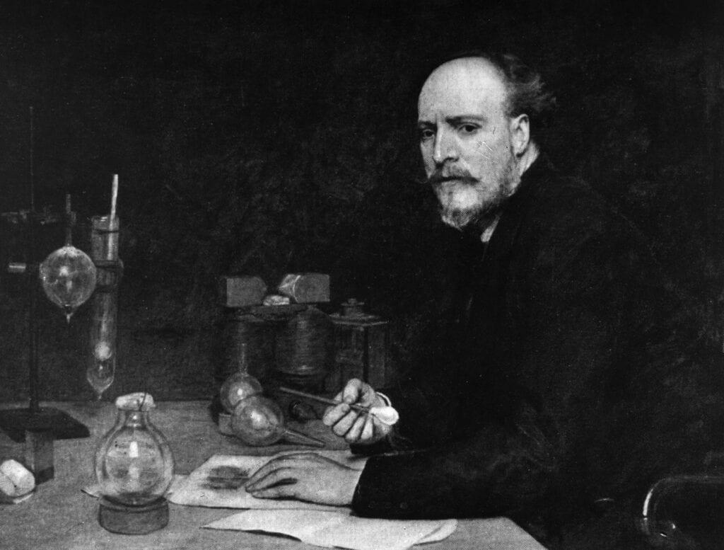 Pintura de James Dewar en su laboratorio