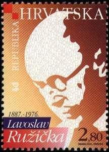 Sello postal Croata en honor a Leopold Ružička - 2001