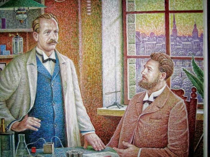 Paul Walden (izquierda) y Ostwald, su mentor y amigo, según lo pintado por Auseklis Bauskenieks.