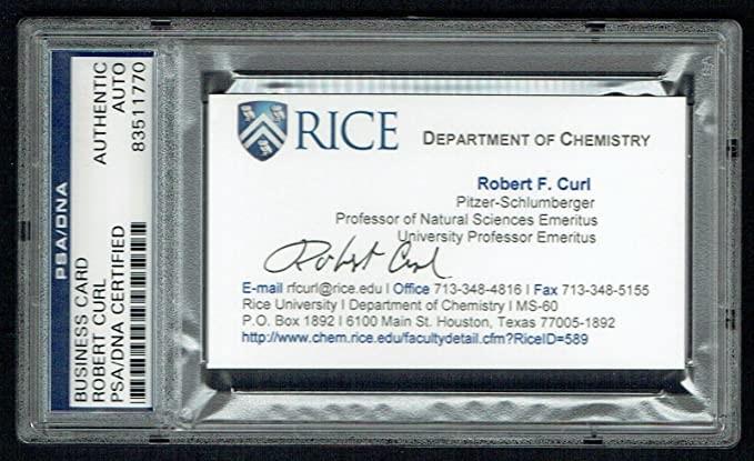 Tarjeta de presentación de Robert F. Curl, autografiada.