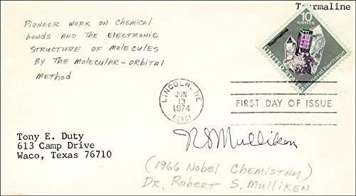 Sello postal de primer día de circulación autografiada por Robert S. Mulliken