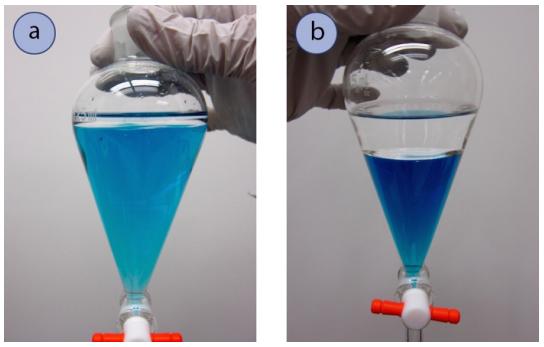 Figura 3: a) 10mL de disolvente orgánico (hexanos) con 100mL de agua (coloreada con tinte azul) en un embudo de separación de 125mL, b) 40mL de cada uno de los disolventes orgánicos (acetato de etilo), y agua (coloreada con tinte azul).