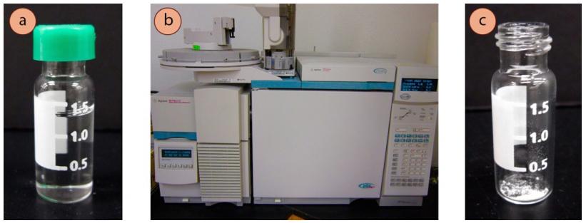 Figura 1: a) vial de cromatografía, b) instrumento de GC-MS, c) pequeña cantidad de sólido en un vial de cromatografía.