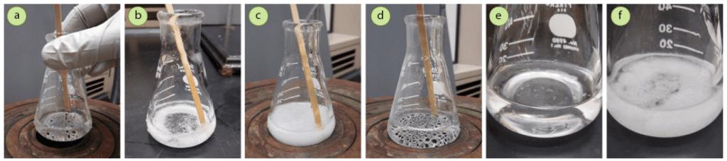 Figura 1: a) Se utilizó la cantidad mínima de metanol/agua para disolver una muestra de ácido trans-cinámico, b) Al enfriar, el sólido se estrelló inmediatamente, c) La solución turbia se colocó de nuevo en la fuente de calor y se añadió metanol adicional, d) El sólido se disolvió, e+f) El sólido cristalizó más lentamente al utilizar más disolvente.